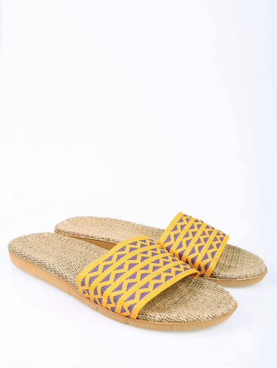 Geometric Pattern Linen Color Block House Slippers - YELLOW SIZE(39-40) Mobile
