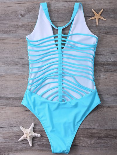 Strappy One-Piece Swimwear - BLUE M Mobile