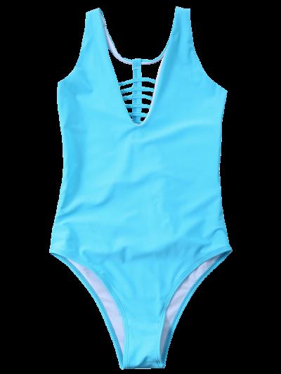 Strappy One-Piece Swimwear - BLUE S Mobile