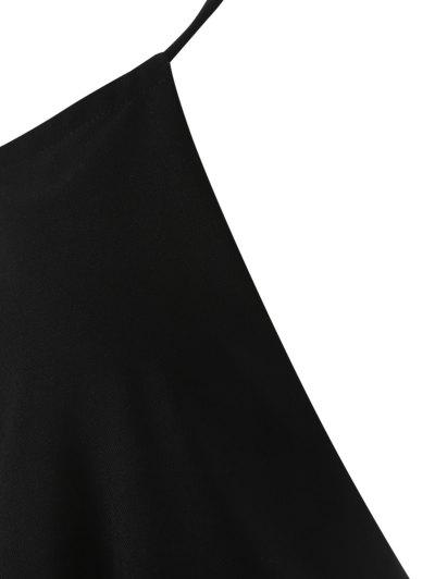 Plunge Keyhole Wide Leg Palazzo Jumpsuit - BLACK M Mobile