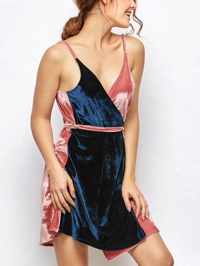 Velvet Two Tone Wrap Dress - Blue And Pink