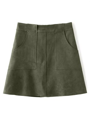 A Line Front Pockets Suede Skirt - Olive Green