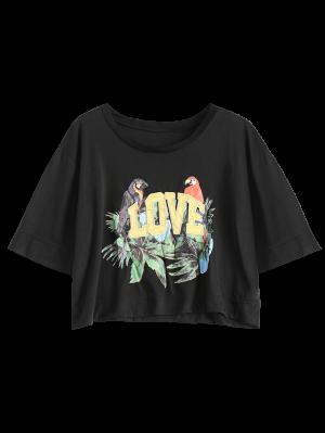 Tropical Print Cropped T-Shirt - Black
