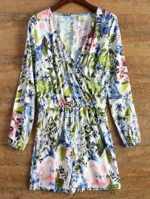 Long Sleeve Wrap Floral Romper - Blue