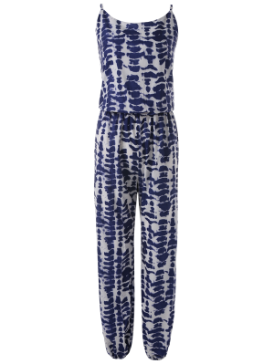 Cami Tie Dye Beach Jumpsuit - Blue