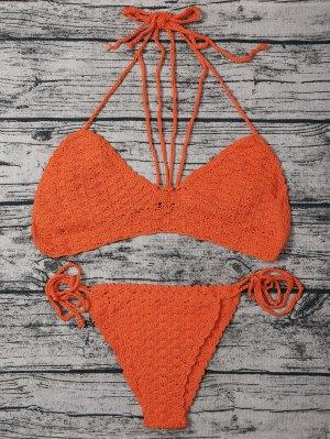 String Crochet High Leg Bikini Set - Watermelon Red