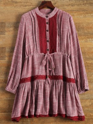 Long Sleeve Lace Bib Smock Dress - Wine Red