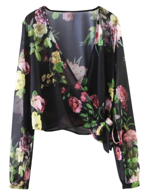 Knotted Cropped Surplice Floral Blouse - Black