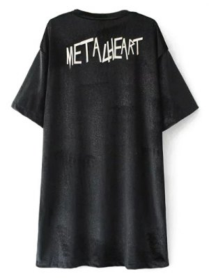Oversized Metalheart Velvet Tunic T-Shirt - Black