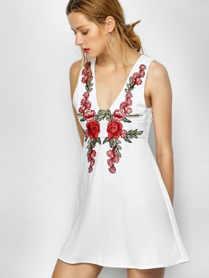 Floral Plunging Neck Mini Dress - White
