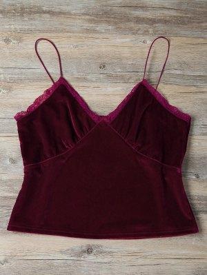 Lace Trim Velvet Camisole Top - Burgundy