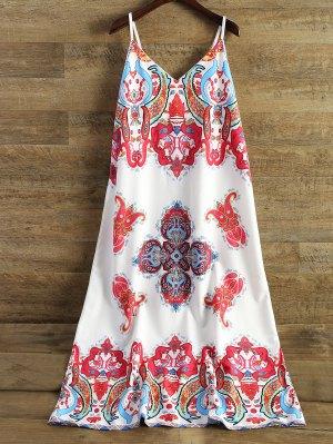Printed Camisole Midi Dress - White