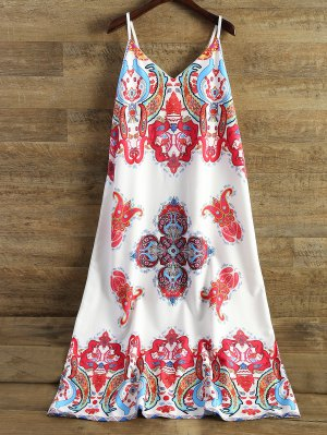 Printed Camisole Midi Dress - White