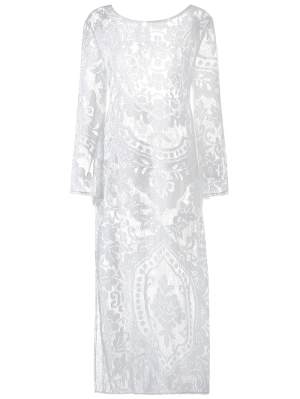 Flare Sleeve Sheer Lace Maxi Dress - White S