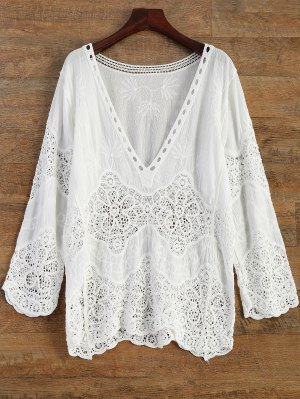Crochet Plunge Beach Cover-Up Dress