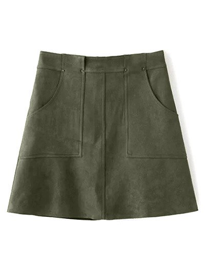 Front Pockets Suede Skirt