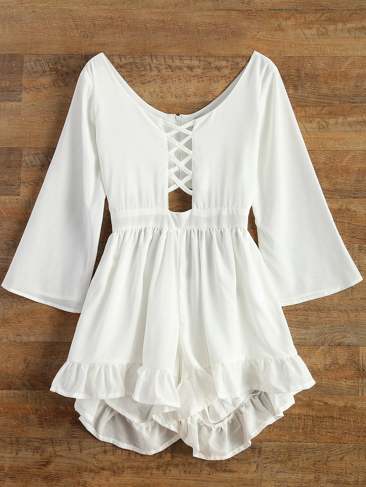 Lace-Up Cut Out Romper