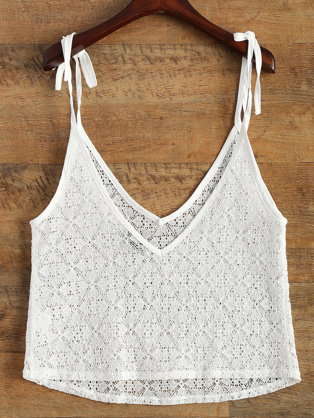 V Neck Lace Plunge Top