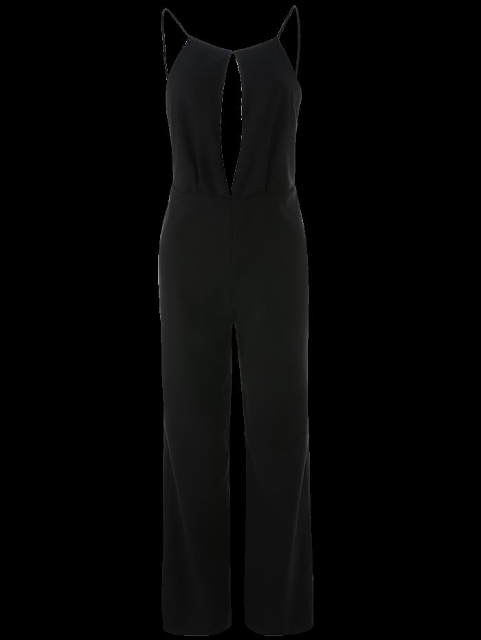 Wide Leg Keyhole Plunge Jumpsuit