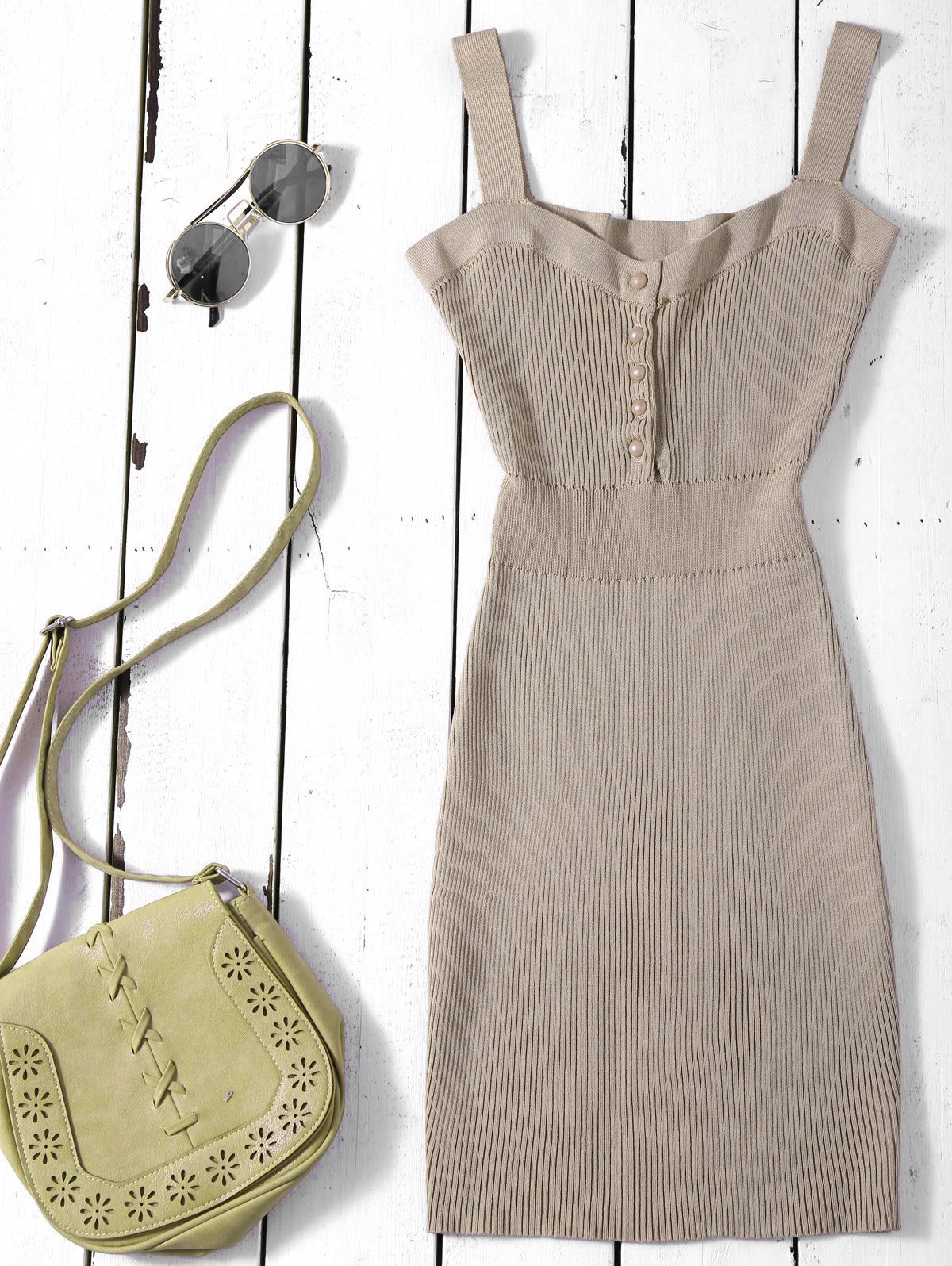 Bodycon Wide Strap Knit Dress