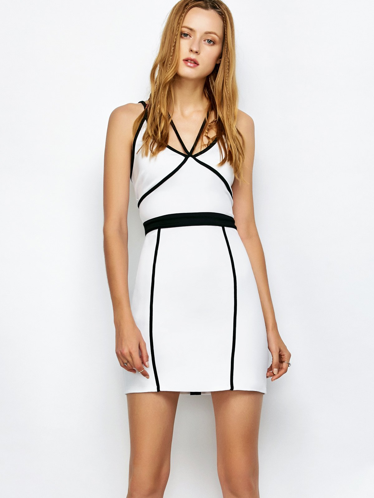 Spaghetti Strap Piping Bodycon Bandage Dress