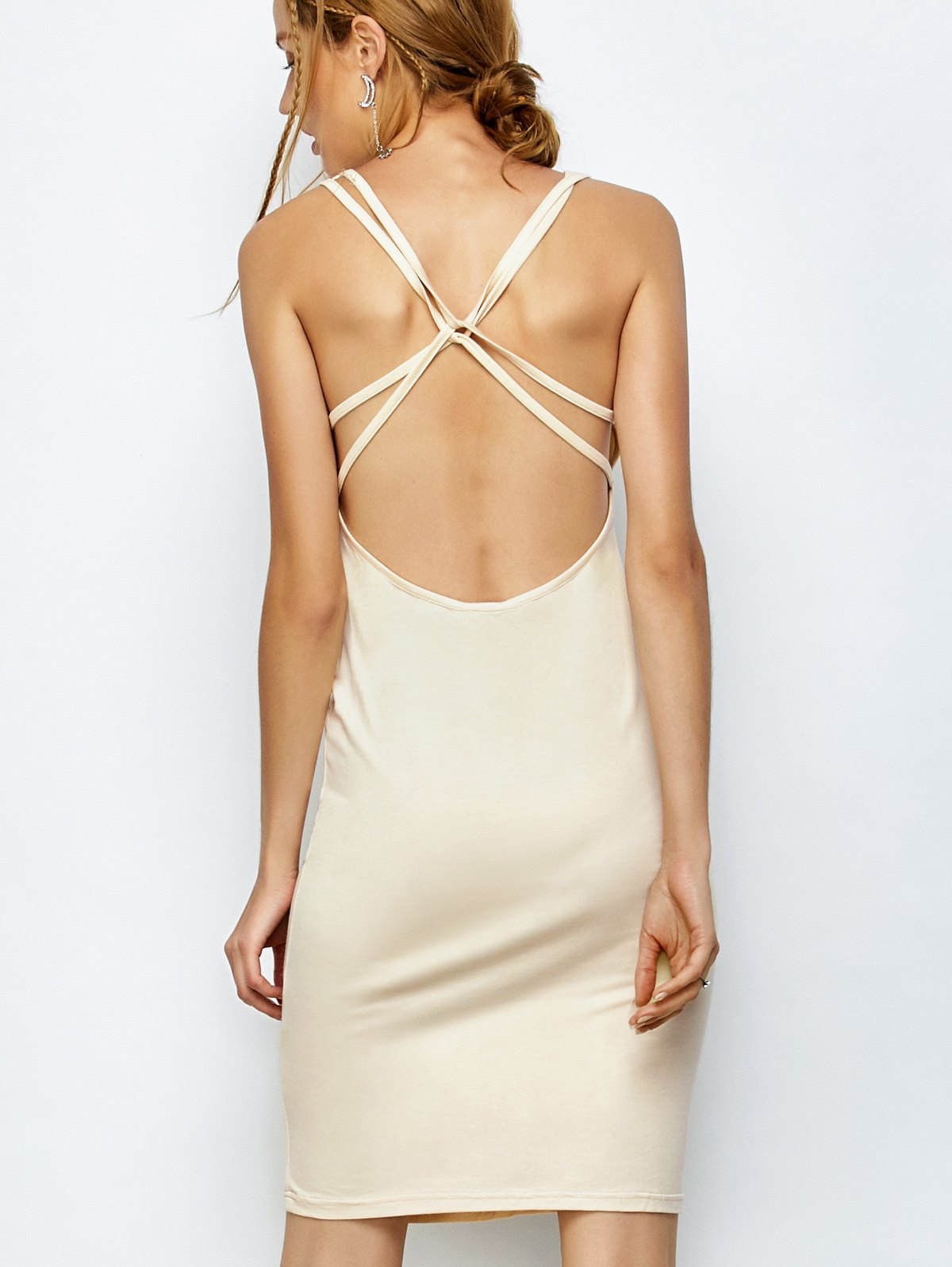 Strappy Backless Bodycon DressClothes<br><br><br>Size: 2XL<br>Color: APRICOT