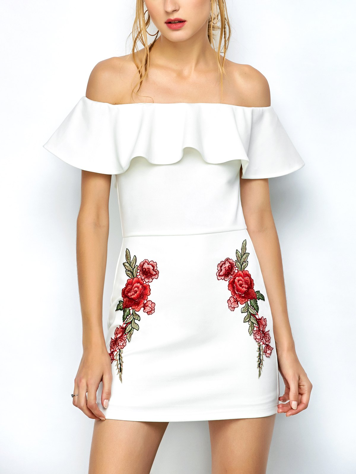 Off Shoulder Floral Embroidered Bodycon Dress