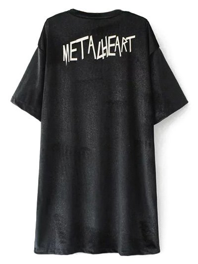 Oversized Metalheart Velvet Tunic T-ShirtClothes<br><br><br>Size: L<br>Color: BLACK