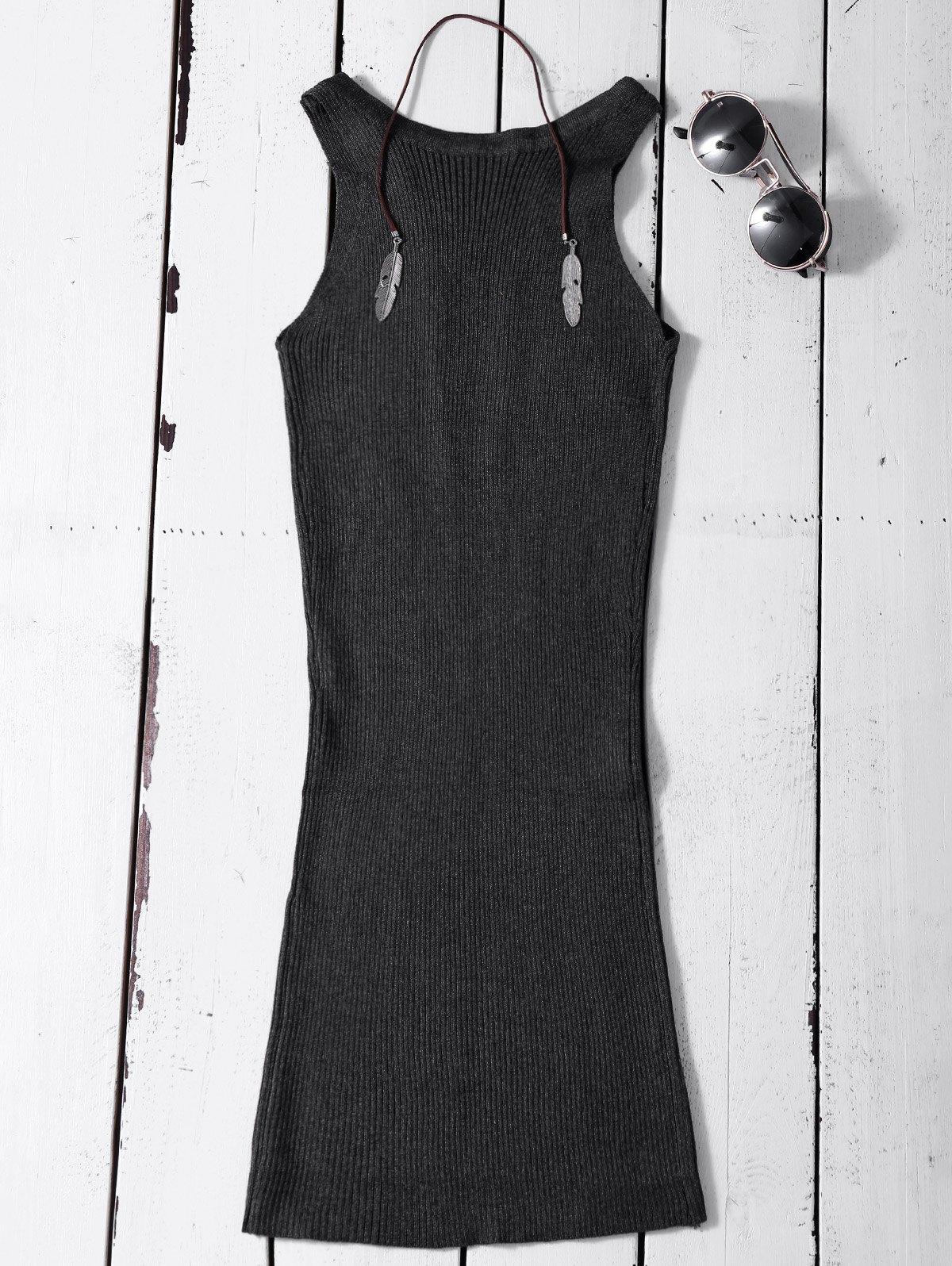 Lace Up Sleeveless Ribbed Knit Dress