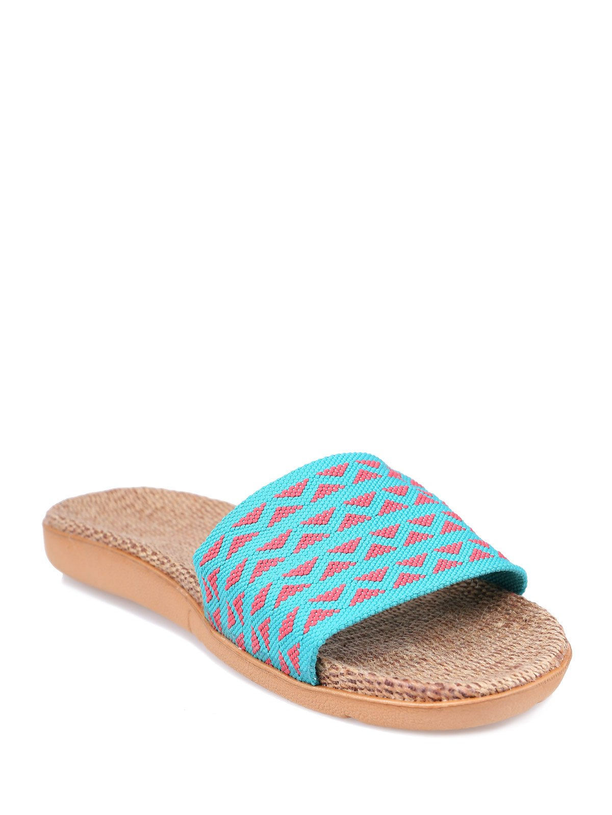 Geometric Pattern Linen Color Block House Slippers