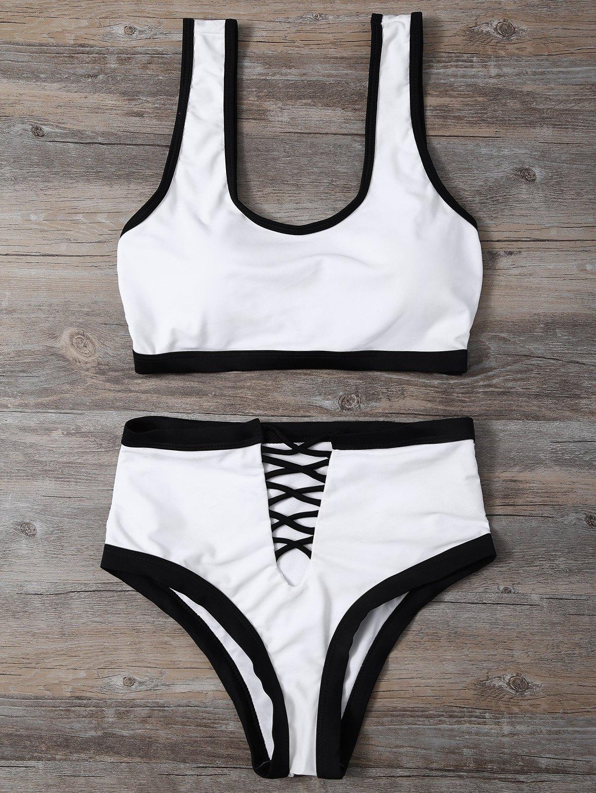 U Neck Contrast Trim Bikini Set