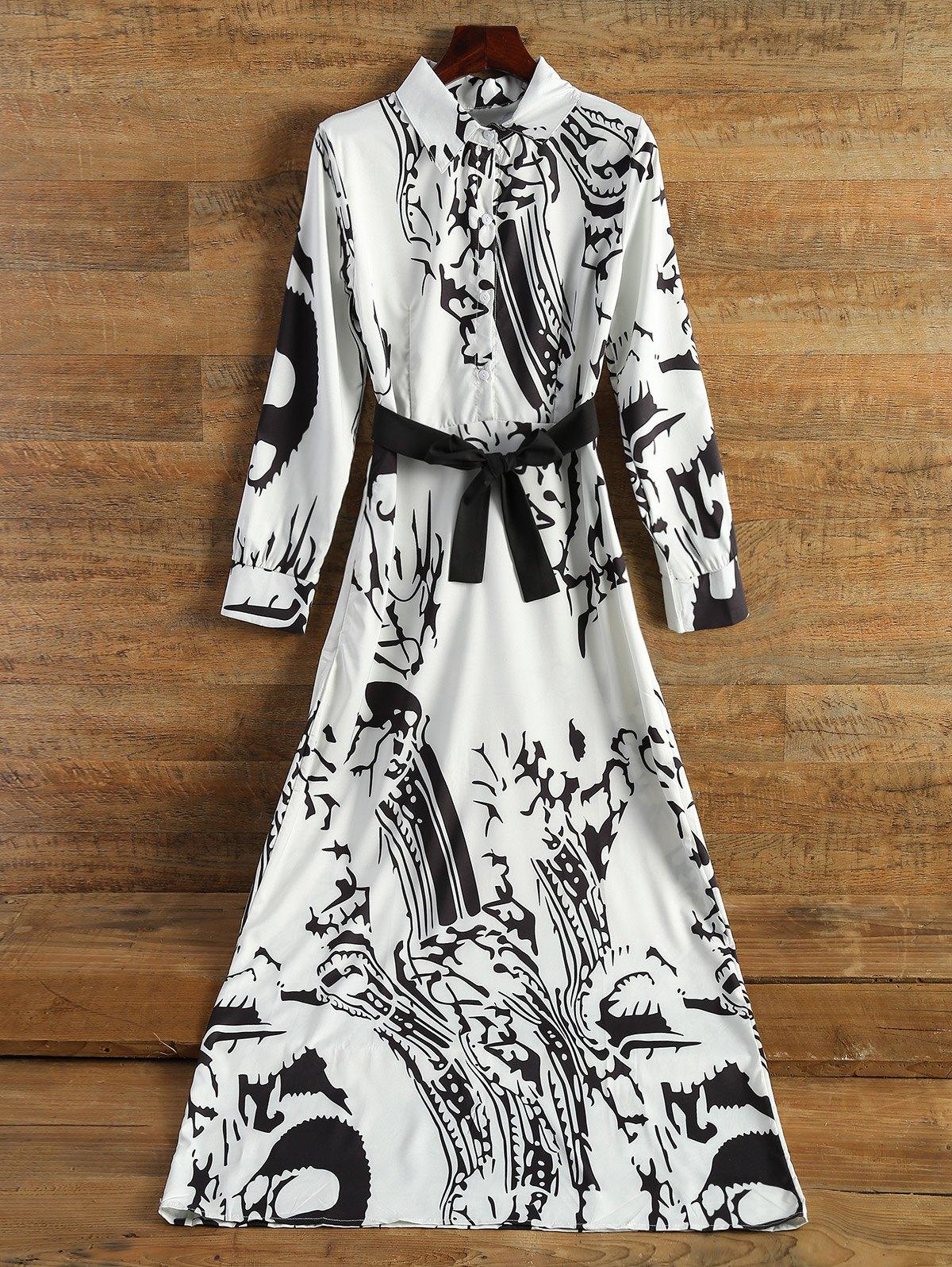 Chinese Painting Chiffon Maxi Dress - OFF WHITE S