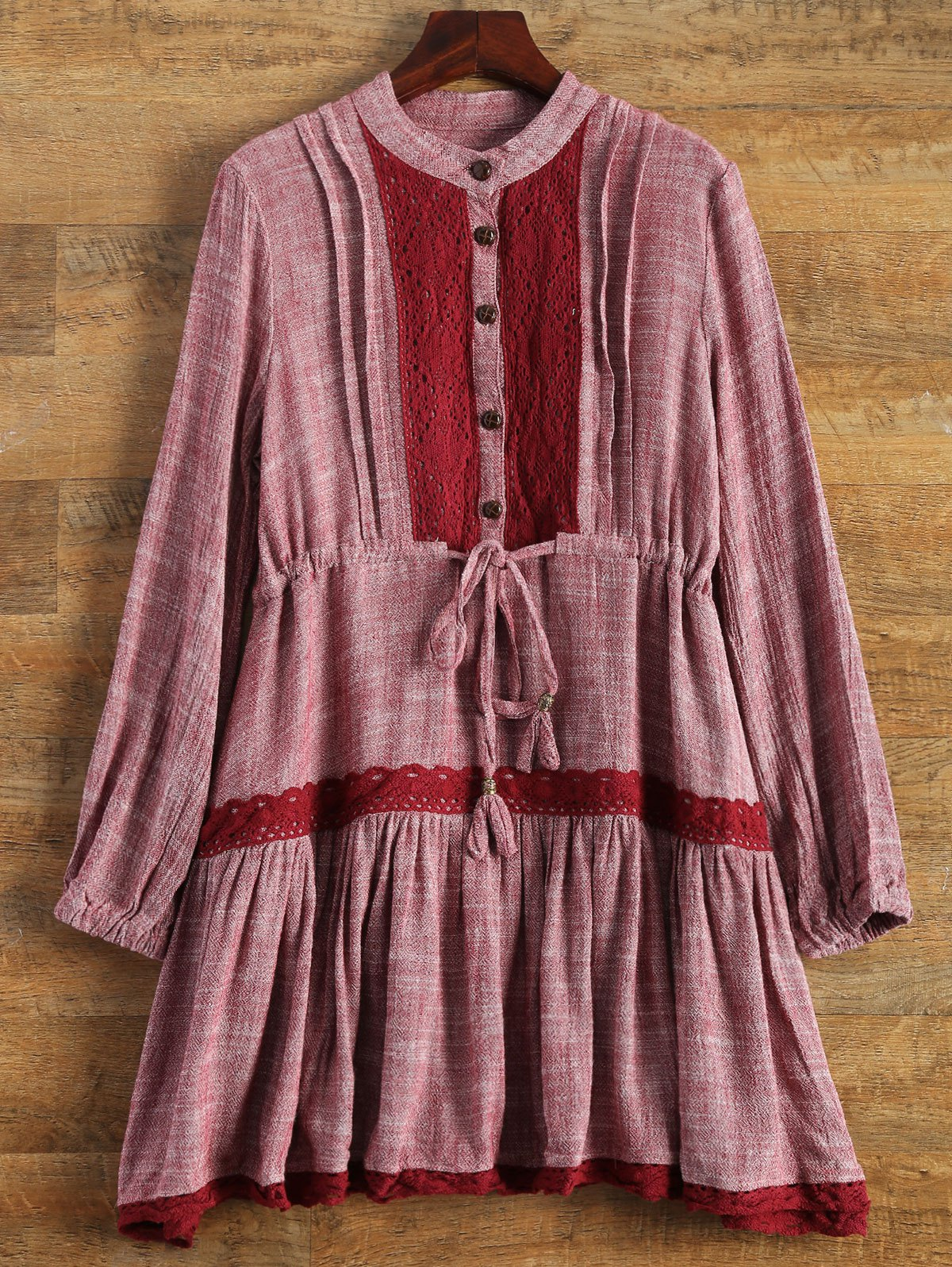 Long Sleeve Lace Bib Smock Dress