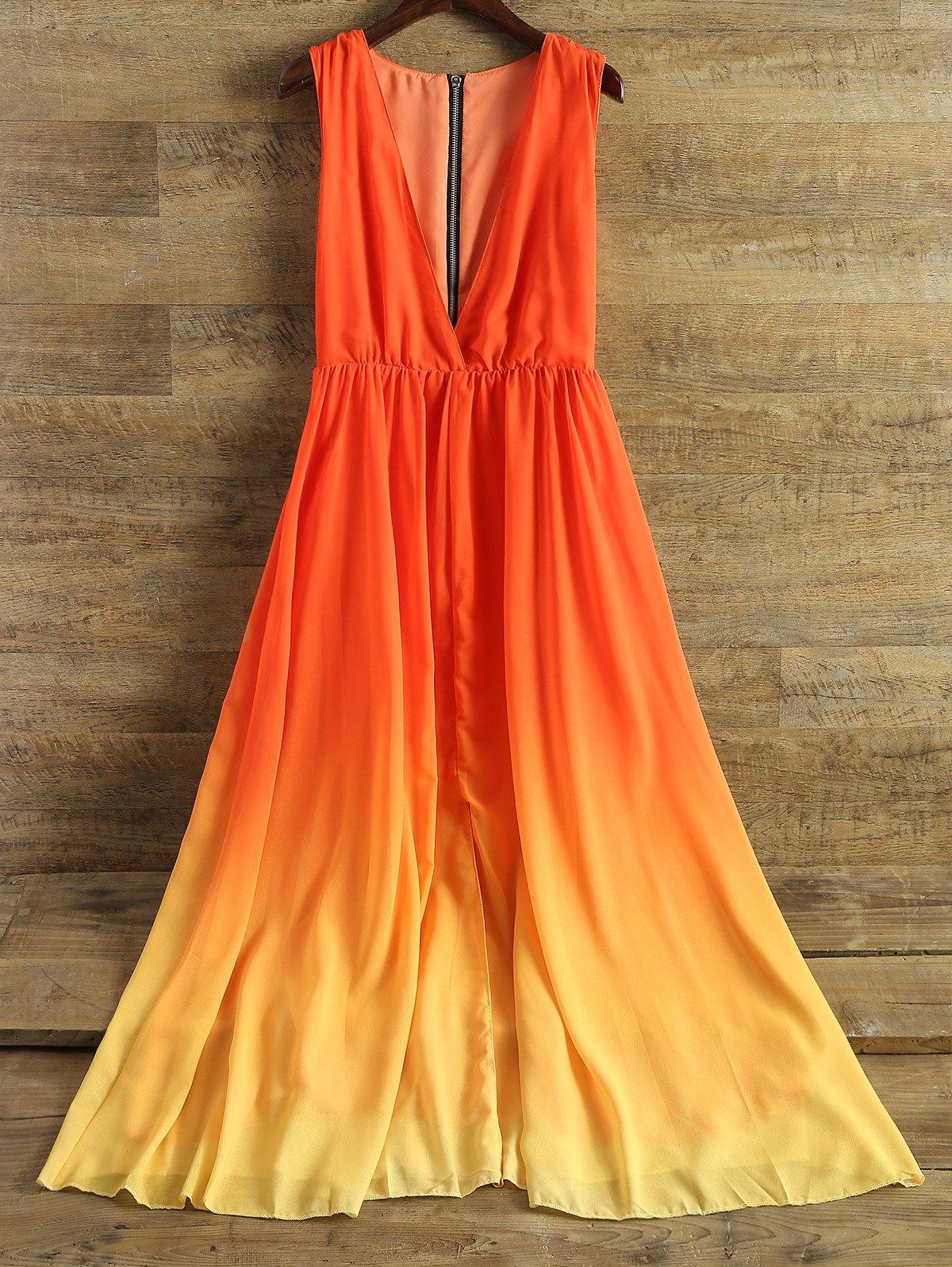 Plunging Neck Sleeveless Ombre Chiffon Dress