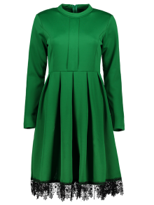 Lacework Stand Collar Flare Dress - Green S