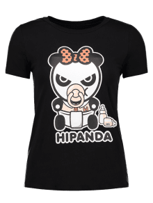 Cartoon Panda Pattern Tee - Black Xl