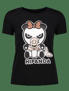 Cartoon Panda Pattern Tee - Black M
