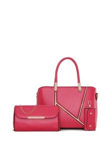 Buy Metal Embellished Handbag Set - ROSE RED
