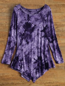 Asymmetric Tie-Dyed T-Shirt - Purple S