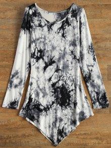 Asymmetric Tie-Dyed T-Shirt - Gray S