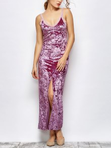 Front Slit Crushed Velvet Maxi Dress - Purple S