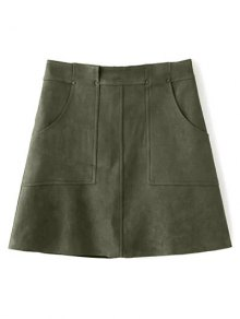 A Line Front Pockets Suede Skirt - Olive Green L
