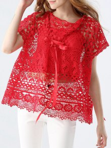 Cut Out Bowknot Lace Blouce With Cami Tank Top