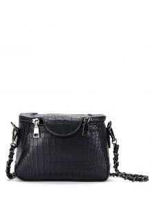 Chains Crocodile Pattern Cross Body Bag - Black