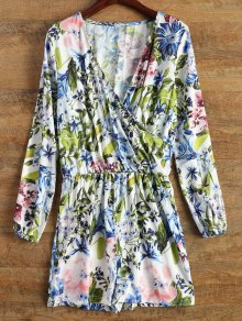 Long Sleeve Wrap Floral Romper