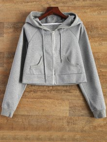 Hooded Cropped Jacket - Gray Xl