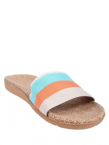 Striped Color Block Linen House Slippers - Orange