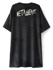 Oversized Metalheart Velvet Tunic T-Shirt