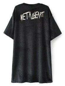 Oversized Metalheart Velvet Tunic T-Shirt
