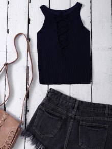 Cropped Lace Up Sweater Tank Top